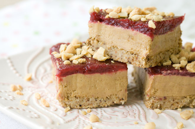Peanut Butter Mousse & Strawberry Jam Bars
