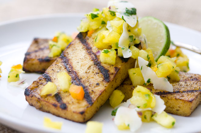 Jamaican Jerk Tofu Pineapple Coconut Salsa