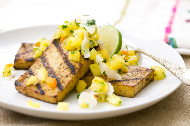 Jerk Tofu Steaks PineApple Salsa
