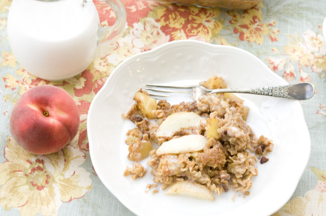 Peach and Pecan Baked Oatmeal