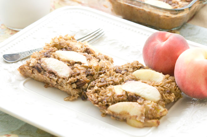 Vegan Peach and Pecan Baked Oatmeal