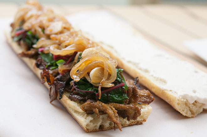 Vegan Seitan Subs, w/ Beer Braised Onions & Garlic, Swiss Chard, & Horseradish Cream